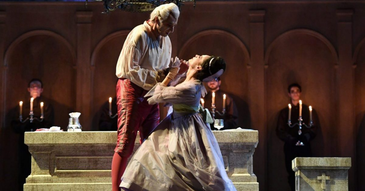 27/06/2017 60 Festival dei 2 Mondi di Spoleto. Teatro Nuovo, Opera lirica Don Giovanni. Nella foto Don Giovanni Dimitris Tiliakos, Donna Elvira Davinia Rodriguez
