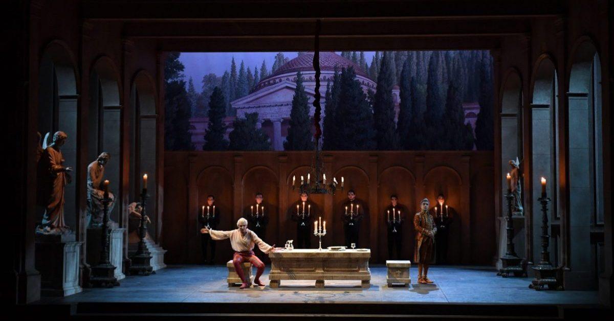 27/06/2017 60 Festival dei 2 Mondi di Spoleto. Teatro Nuovo, Opera lirica Don Giovanni. Nella foto Don Giovanni Dimitris Tiliakos, Leporello Andrea Concetti